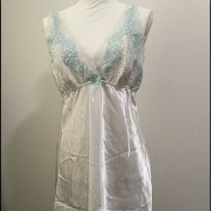 Flora white lingerie with blue trim. Size XL